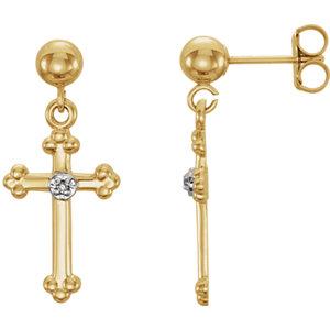 14K Yellow .01 CTW Diamond Cross Dangle Earrings