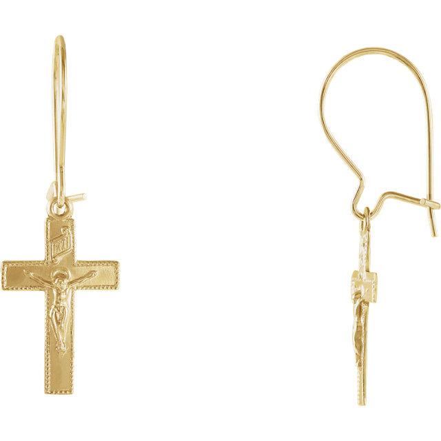 14K Yellow 25x9mm Crucifix Earrings