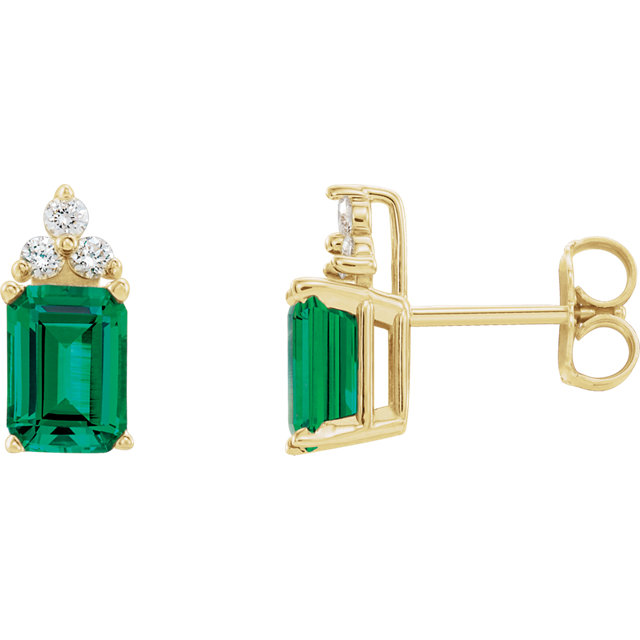 14K Yellow Chatham® Created Emerald & 1/8 CTW Diamond Earrings