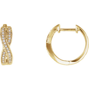14K Yellow 1/5 CTW Diamond Infinity-Inspired Hoop Earrings