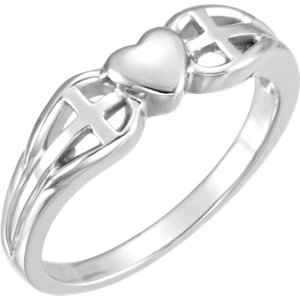Religious Rings, Heart & Cross Ring