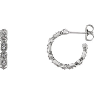 Earrings , Platinum 1/6 CTW Diamond Granulated J-Hoop Earrings