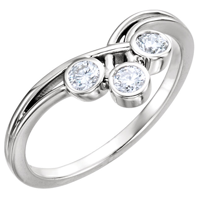 14K White 3 mm Round Three-Stone Ring Mounting