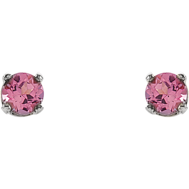 14K White 3 mm Round Imitation Pink Tourmaline Youth Birthstone Earrings