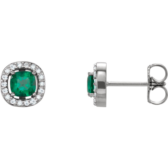 14K White Chatham® Created Emerald & .08 CTW Diamond Earrings