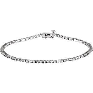 Bracelet, 14K White 1 CTW Diamond Line 7.25