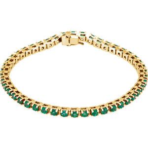 Bracelet, 14K Yellow Emerald Line Bracelet