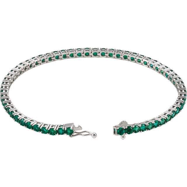 14K White Lab-Grown Emerald Line 7.25