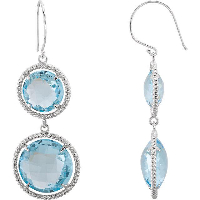 Sterling Silver Sky Blue Topaz Rope Design Earrings