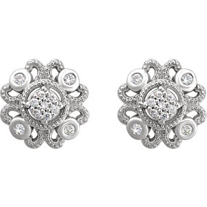 Sterling Silver 1/8 CTW Diamond Cluster Earrings