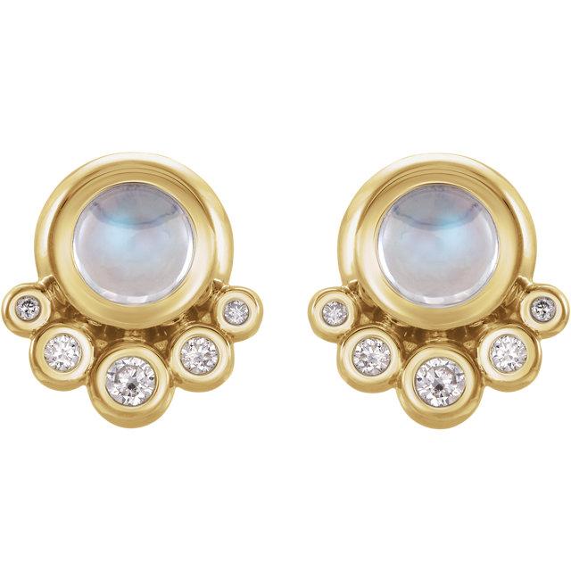 14K Yellow Moonstone & 1/8 CTW Diamond Earrings