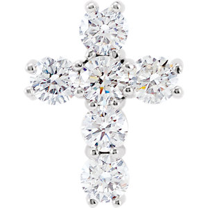 Pendant, 14K White 9/10 CTW Diamond Cross Pendant