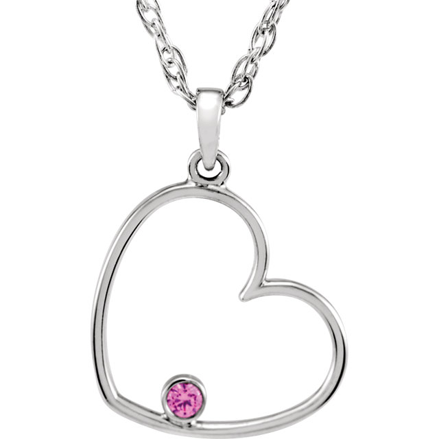 Sterling Silver Pink Cubic Zirconia Heart 18