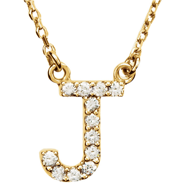 14K Yellow Initial J 1/8 CTW Diamond 16