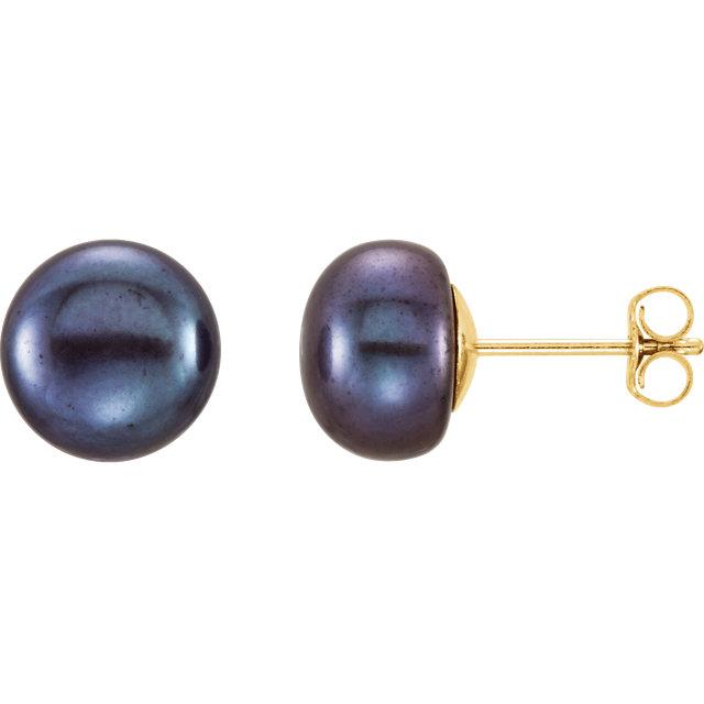 14K Yellow 8-9 mm Black Freshwater Cultured Pearl Earrings