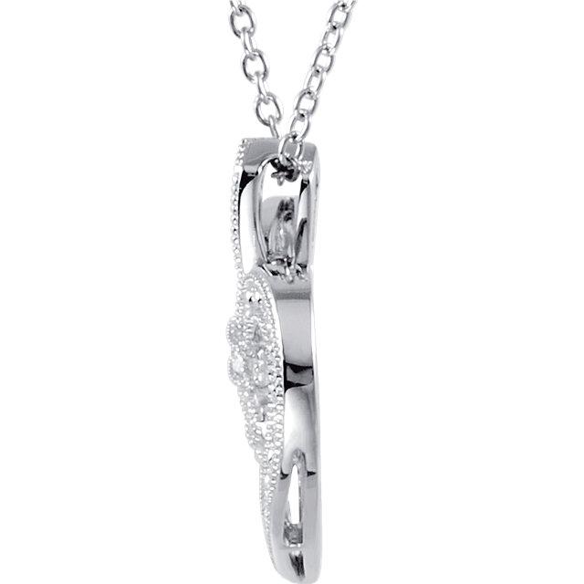 Sterling Silver .06 CTW Diamond Heart 18