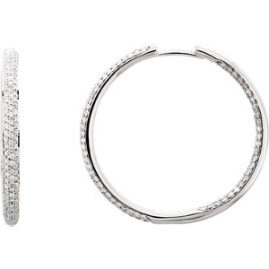 18K White 1 3/4 CTW Diamond Inside/Outside Hoop Earrings