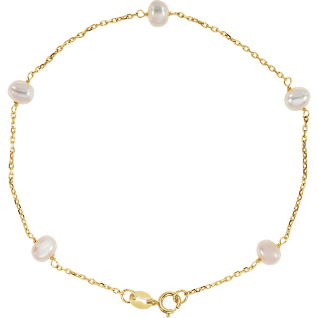 14K Yellow White Freshwater Cultured Pearl Station 7