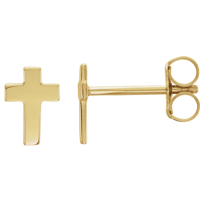 14K Yellow 7x5mm Cross Earrings
