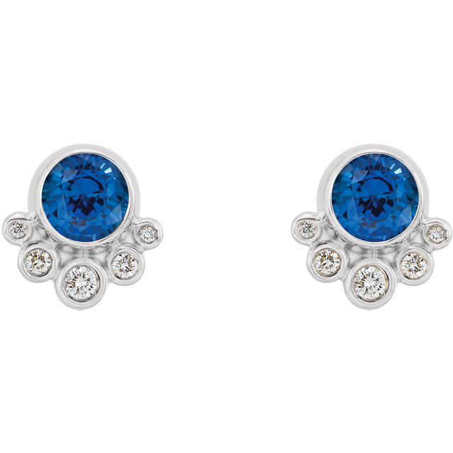 14K White Chatham® Created Blue Sapphire & 1/8 CTW Diamond Earrings