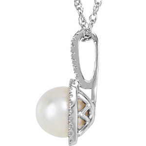 Sterling Silver 7mm Freshwater Cultured Pearl & .015 CTW Diamond 18
