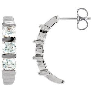 14K White 1 1/2 CTW Diamond J-Hoop Earrings