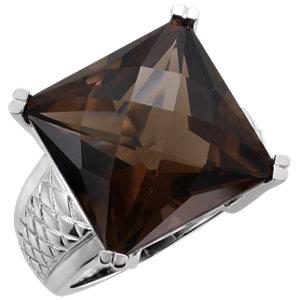 Sterling Silver Smoky Quartz Weave Design Ring