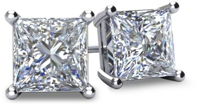 Diamond Stud Earrings - Princess