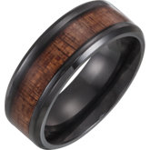 Black Titanium Beveled Edge Comfort Fit Band with Golden Figured Aniegre Wood Inlay