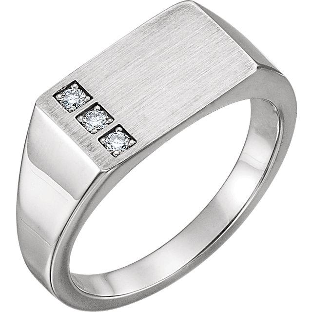14K White 1/10 CTW Diamond Signet Ring