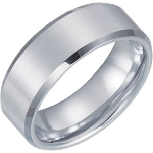 White Tungsten 8mm Satin & Beveled Edge Band Size Size 7.5