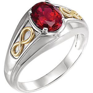 Fashion Rings , 14K White & Yellow Chatham® Created Ruby Infinity-Inspired Men's Ring