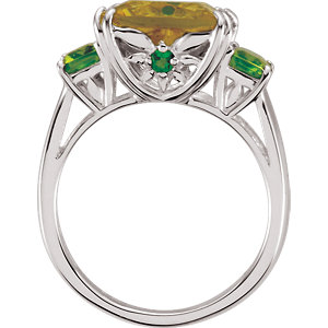 Lime Quartz, Peridot & Chrome Diopside Ring