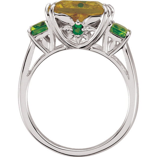 Lime Quartz, Peridot & Chrome Diopside Ring