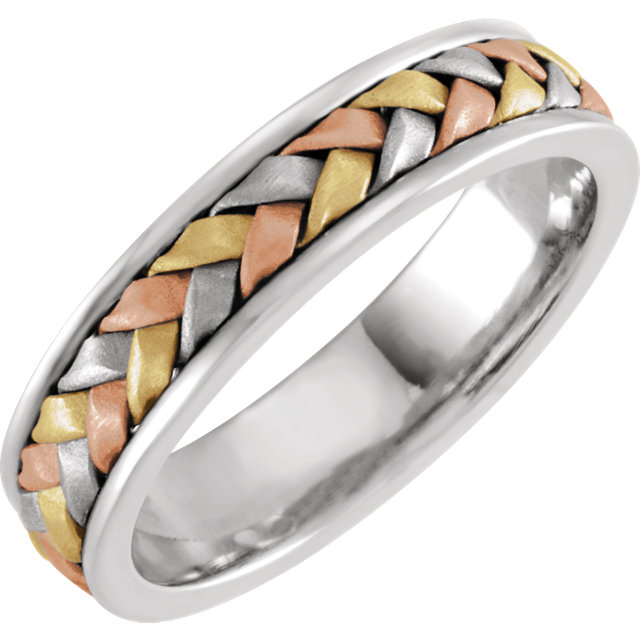 14K Tri-Color 4 mm Woven Band Size 5