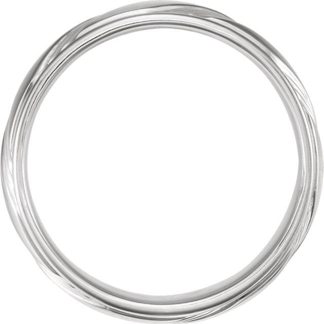 14K White 6.5 mm Fancy Band Size 10