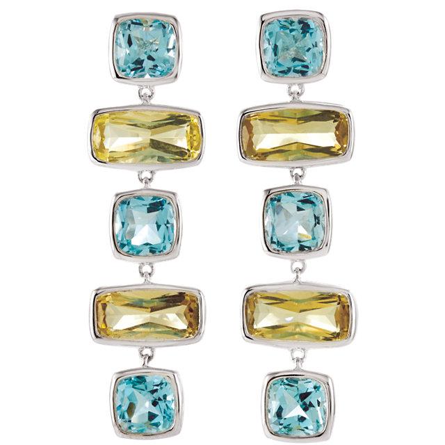 Sky Blue Topaz & Lime Quartz Multi-Gemstone Earrings