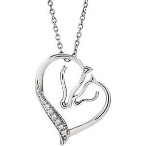 Sterling Silver .03 CTW Diamond Tender Voices Horse Silhouette 18