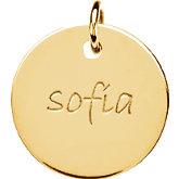 Posh Mommy® Engravable Large Disc Pendant