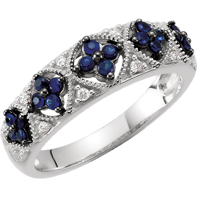 Sterling Silver Sapphire & .05 CTW Diamond Ring Size 6