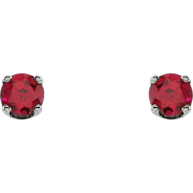Sterling Silver Imitation Ruby Earrings