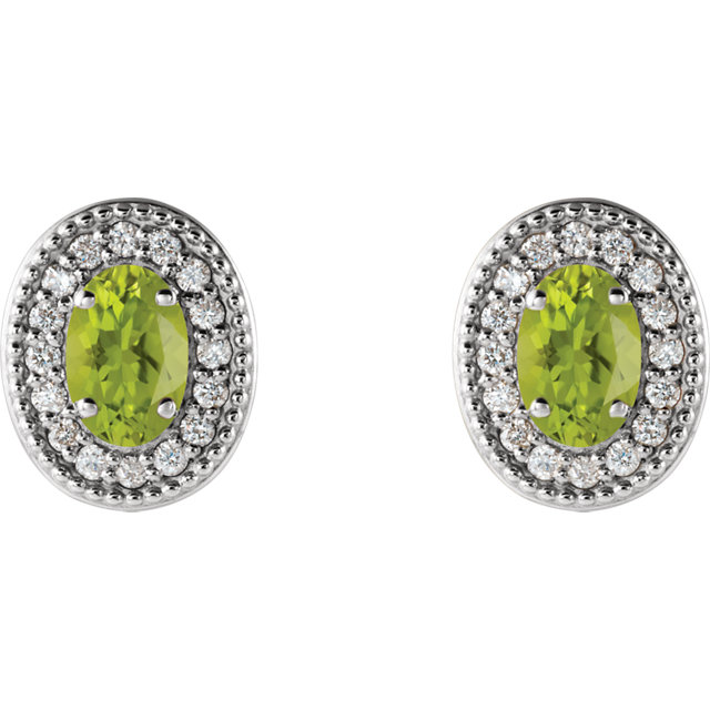 Sterling Silver Peridot & 1/6 CTW Diamond Halo-Style Earrings