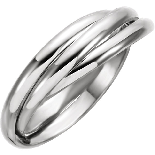 14K White 2.5mm 3-Band Rolling Ring Size 7