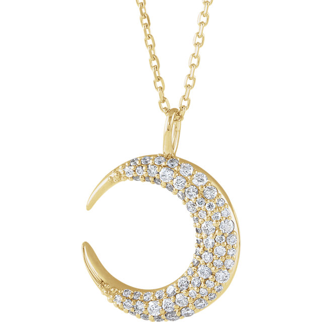 14K Yellow 1/3 CTW Diamond Crescent Moon 16-18
