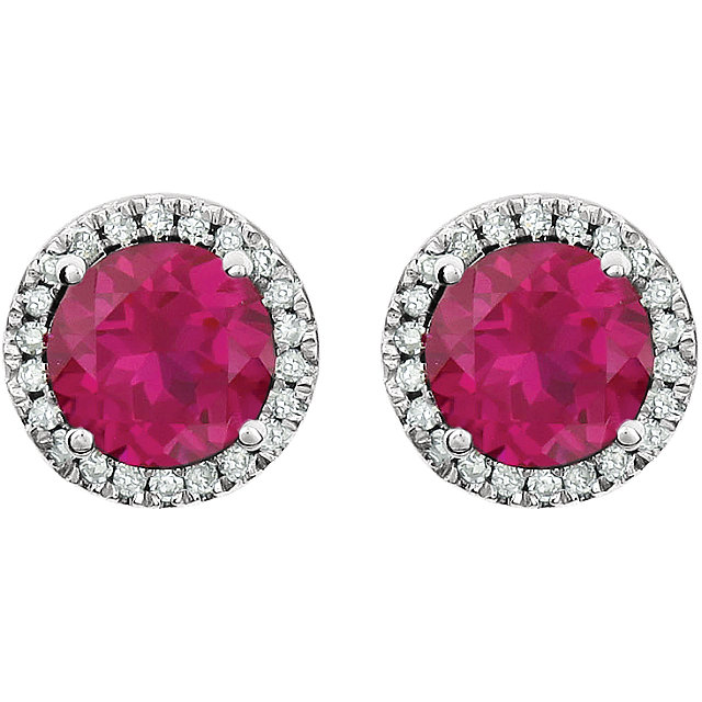 14K White Created Ruby & 1/8 CTW Diamond Earrings