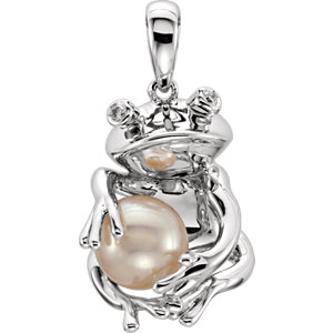 Sterling Silver Freshwater Cultured Pearl Frog Pendant
