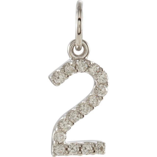 14K White .07 CTW Diamond Numeric Charm or Pendant