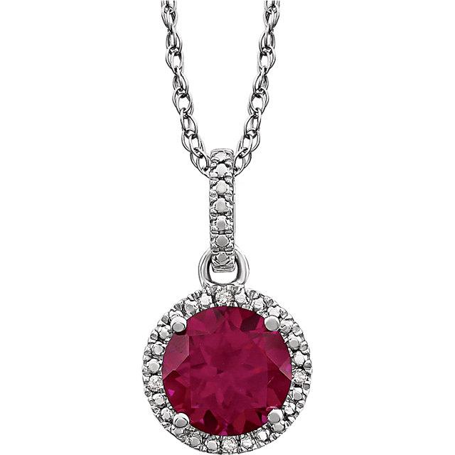 Sterling Silver Lab-Grown Ruby & .01 CTW Diamond 18