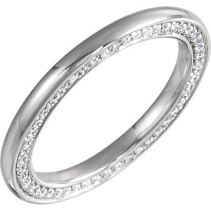 14K White 2 mm 1/2 CTW Diamond Accented Band Size 7