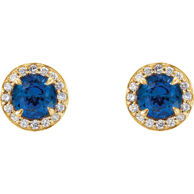 14K Yellow 5mm Round Chatham® Created Sapphire & 1/6 CTW Diamond Earrings